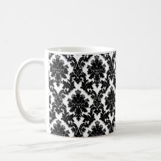 Beautiful Black and White Damask Pattern Coffee Mug