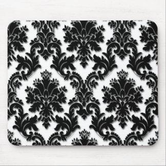 Beautiful Black and White Damask Pattern Mouse Pad
