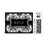 Beautiful Black and White Damask R.S.V.P. Postage Stamp