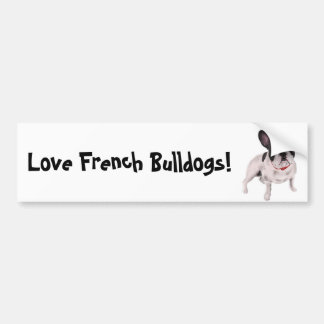 Beautiful Black and white French Bulldog on Grass Bumper Stickers