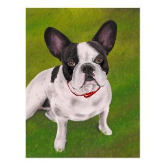 Beautiful Black and white French Bulldog on Grass Postcard