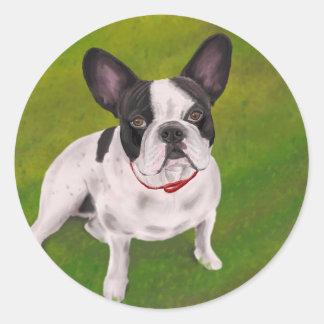 Beautiful Black and white French Bulldog on Grass Round Sticker