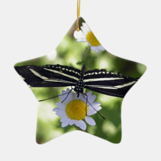 Beautiful Black and White Striped Butterfly Ceramic Star Decoration