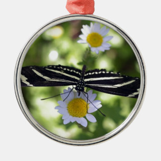 Beautiful Black and White Striped Butterfly Silver-Colored Round Decoration