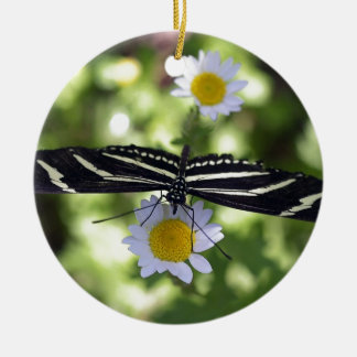 Beautiful Black and White Striped Butterfly Round Ceramic Decoration