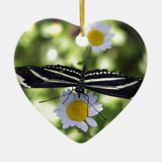Beautiful Black and White Striped Butterfly Ceramic Heart Decoration