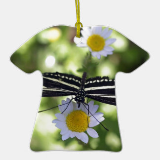 Beautiful Black and White Striped Butterfly Ceramic T-Shirt Decoration