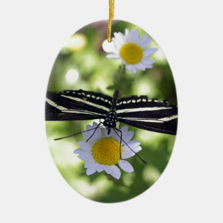 Beautiful Black and White Striped Butterfly Ceramic Oval Decoration