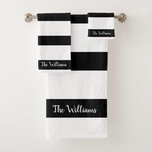Beautiful Black and White Stripes Bath Towel Set