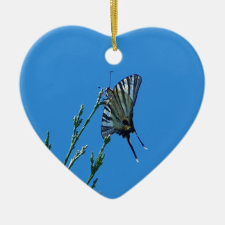 Beautiful Black And White Swallowtail Butterfly Double-Sided Heart Ceramic Christmas Ornament