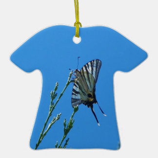Beautiful Black And White Swallowtail Butterfly Double-Sided T-Shirt Ceramic Christmas Ornament