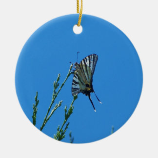 Beautiful Black And White Swallowtail Butterfly Double-Sided Ceramic Round Christmas Ornament