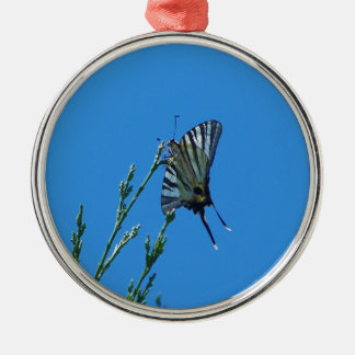 Beautiful Black And White Swallowtail Butterfly Round Metal Christmas Ornament