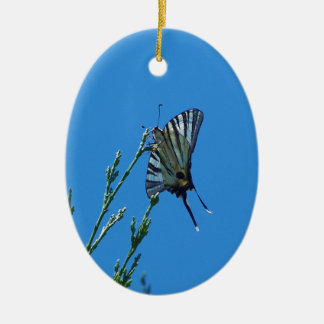 Beautiful Black And White Swallowtail Butterfly Double-Sided Oval Ceramic Christmas Ornament