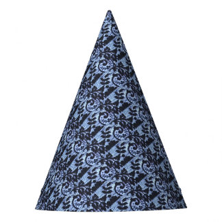 Beautiful black & blue lace fabric detail. party hat