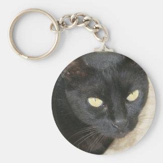 Beautiful Black Cat Portrait Keychain