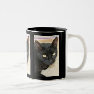 Beautiful Black Cat Portrait Two-Tone Coffee Mug