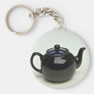 Beautiful black colored teapot basic round button keychain