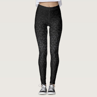 Beautiful Black Damask Pattern Leggings