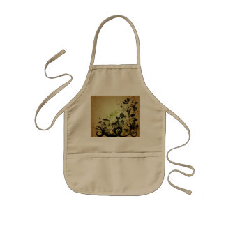 Beautiful black flowers kids' apron
