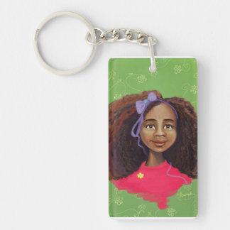 Beautiful Black girl portrait painting  Key Chain