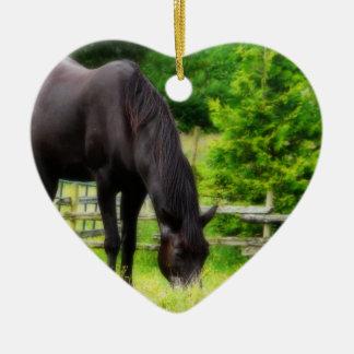 Beautiful Black Horse Ceramic Ornament