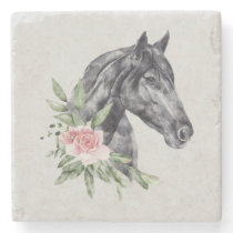 Beautiful Black Horse Head Portrait Watercolor Stone Coaster