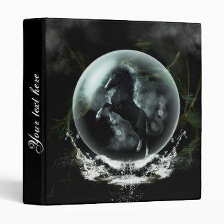 Beautiful black horse in a bubble binders