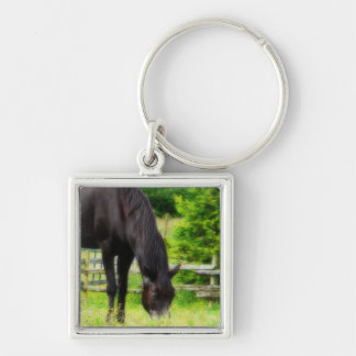 Beautiful Black Horse Silver-Colored Square Keychain