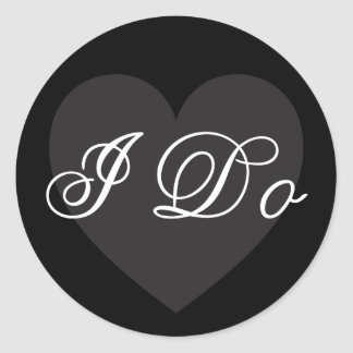 Beautiful black I Do romantic wedding sticker