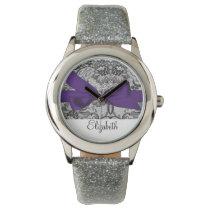 Beautiful  black lace purple personalized design wristwatches