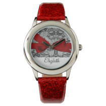 Beautiful  black lace red personalized design wrist watch