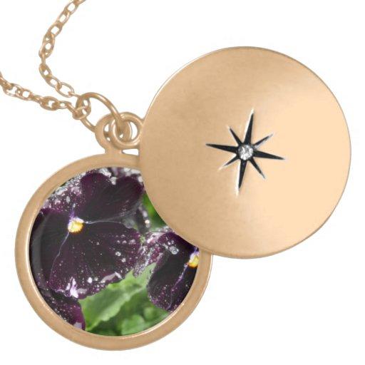 Beautiful Black Pansies Personalised Necklace