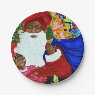 Beautiful Black Santa Paper Christmas Party Plates 7 Inch Paper Plate
