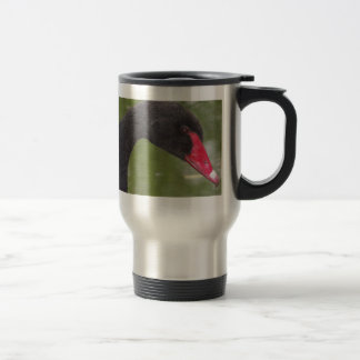 Beautiful Black Swan Close-Up Travel Mug