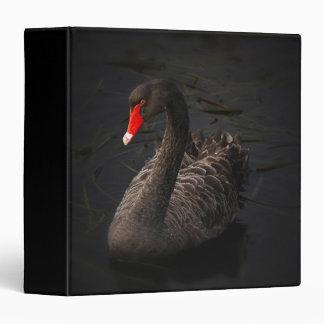 Beautiful Black Swan with a Bright Red Beak Vinyl Binders