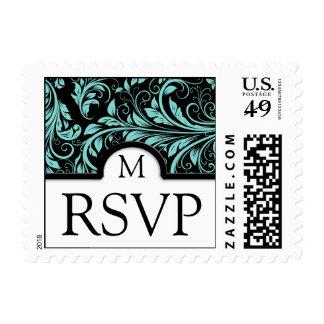 Beautiful Black & Teal Blue Damask - RSVP Stamp
