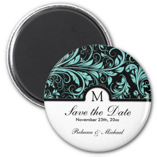 Beautiful Black & Teal Blue Damask with Monogram 2 Inch Round Magnet