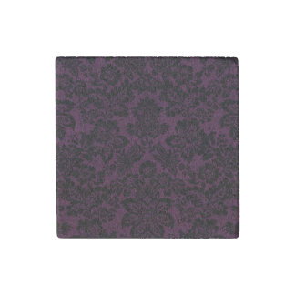 Beautiful black vintage fleur damask stone magnet
