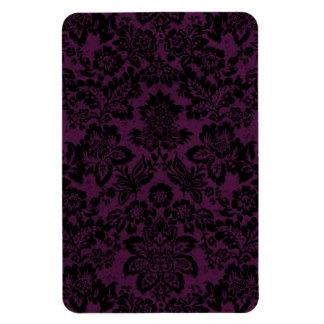 Beautiful black vintage fleur damask rectangle magnet