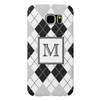 Beautiful Black White and Gray Argyle Monogrammed Samsung Galaxy S6 Cases