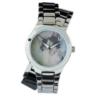 Beautiful Black & White Cat Wrist Watch