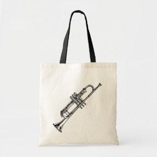 Beautiful Black & White Cornet Musical Instrument Tote Bag
