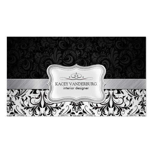 Beautiful Black & White Damask Interior Design Business Cards