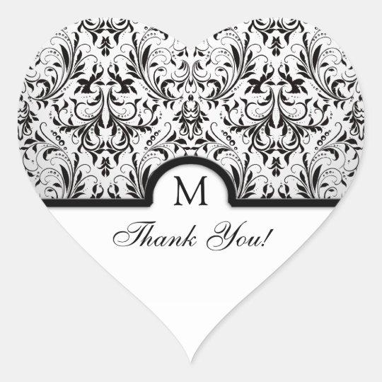 Beautiful Black & White Damask Thank You Heart Sticker