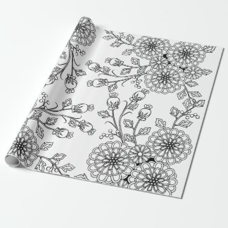 Beautiful Black | White Floral Coloring Paper Wrapping Paper