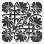Beautiful Black & White Floral Ornament Sticker