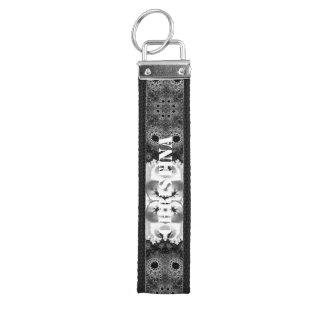 Beautiful Black&White Fractal Abstract Wrist Keychain