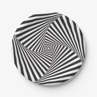 Beautiful Black white spiral optical illusion Paper Plate