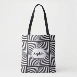 Beautiful Black white spiral optical illusion Tote Bag